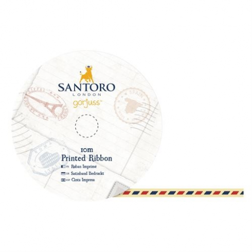 Docrafts 10m Printed Satin Ribbon - Santoro - Air Mail