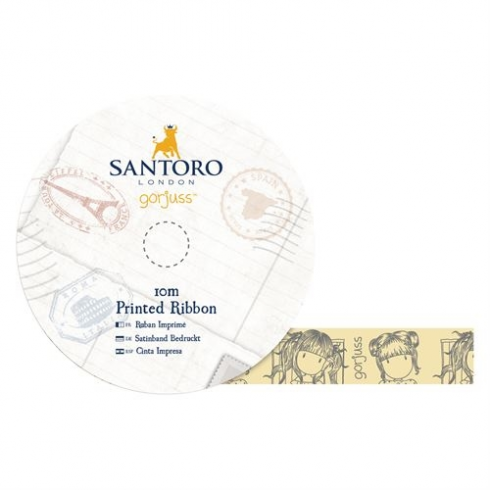 Docrafts 10m Printed Satin Ribbon - Santoro - Little Fishes