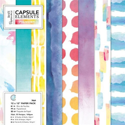 "Docrafts 12"" x 12"" Paper Pack (36pk) - Capsule - Elements Pigment"