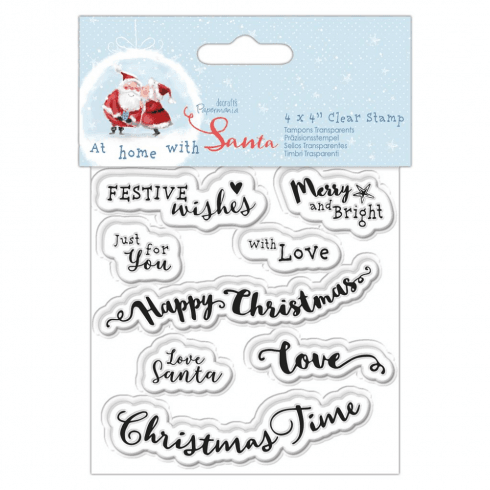 "Papermania 4 X 4"" CLEAR STAMP - AT HOME WITH SANTA - SENTIMENTS"