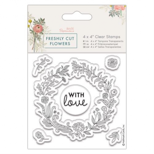 "Docrafts 4 x 4"" Clear Stamp - Freshly Cut Flowers - Floral Wreath"