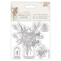 "Docrafts 4 x 4"" Clear Stamp - Freshly Cut Flowers - Flower Vase  PMA 907265"
