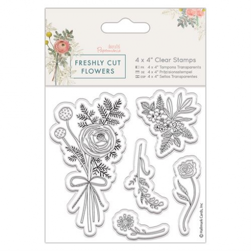 "Papermania 4 x 4"" Clear Stamp - Freshly Cut Flowers - Posey"