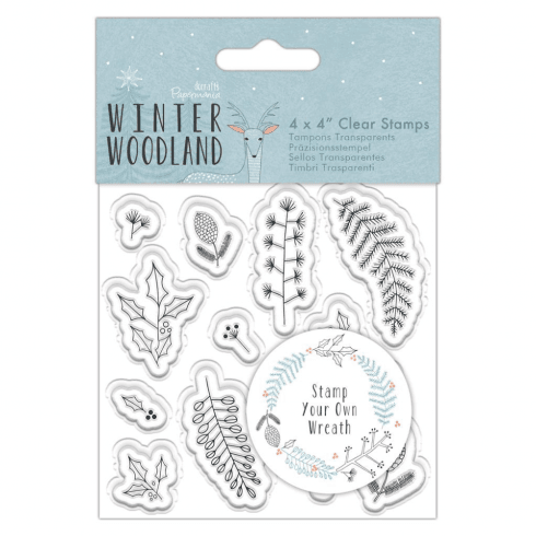 "Papermania 4 X 4"" CLEAR STAMP - WINTER WOODLAND - WREATH"
