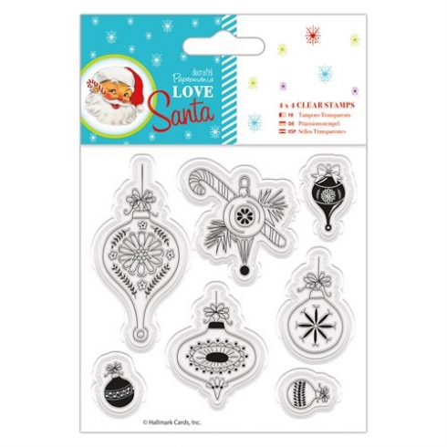"Docrafts 4 x 4"" Clear Stamps - Love Santa - Baubles"