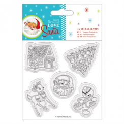 "Docrafts 4 x 4"" Clear Stamps - Love Santa - Mixed Icons"