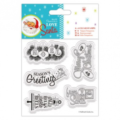 "Docrafts 4 x 4"" Clear Stamps - Love Santa - Mixed Sentiments"