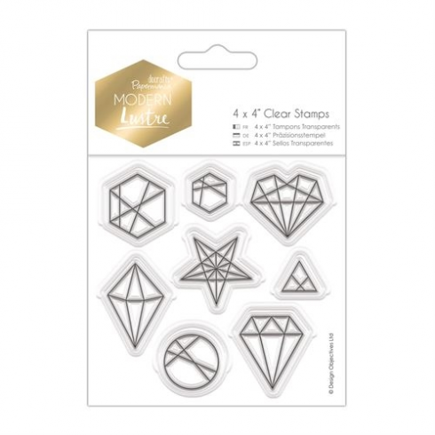 "Docrafts 4 x 4"" Clear Stamps - Modern Lustre - Geo Shapes"