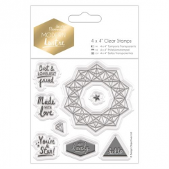"Docrafts 4 x 4"" Clear Stamps - Modern Lustre - Sentiments"