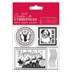 "Create Christmas 4 x 4"" Clear Stamps - Postage Marks"