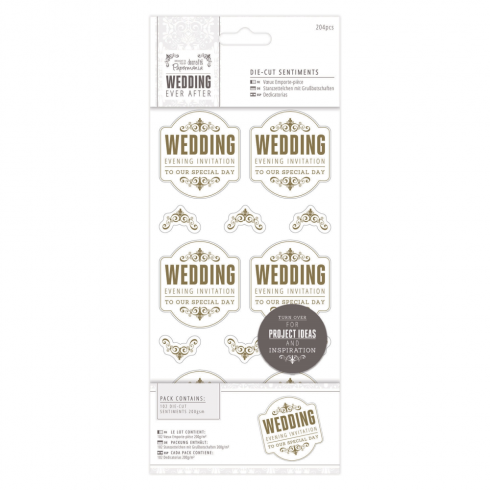 "Papermania 4 x 8"" Die-cut Sentiments (204pcs) - Wedding - EI Special/Gold/White"