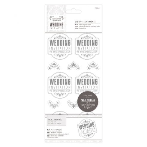 "Papermania 4 x 8"" Die-cut Sentiments (204pcs) - Wedding - WI Special/Silver/White"