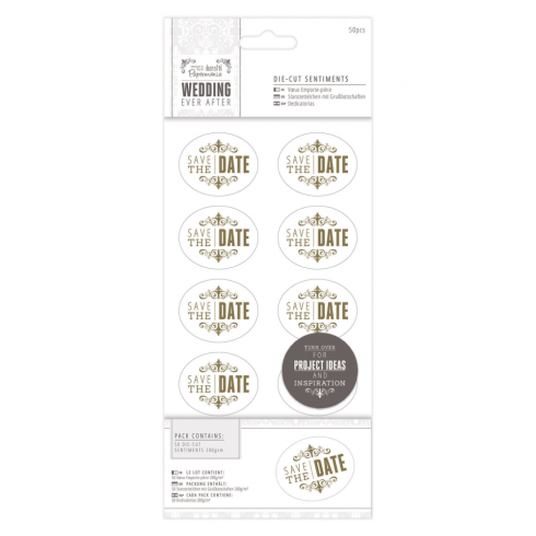 "Papermania 4 x 8"" Die-cut Sentiments (50pcs) - Wedding - Date/Gold/White"