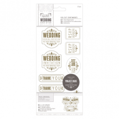 "Papermania 4 x 8"" Die-cut Sentiments (57pcs) - Wedding - Mixed/Gold/White"