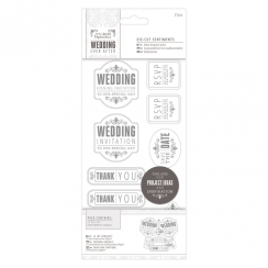 "Papermania 4 x 8"" Die-cut Sentiments (57pcs) - Wedding - Mixed/Silver/White"