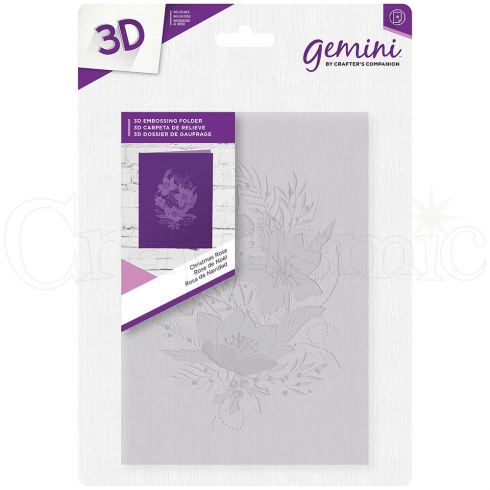 "Gemini 5 x 7"" 3D Embossing Folder - Christmas Rose"
