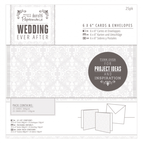 "Papermania 6 x 6"" Cards & Envelopes (25pk) - Wedding - Damask"
