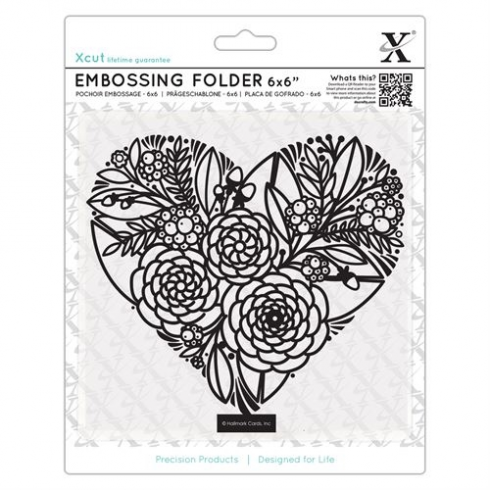 "X-cut 6 x 6"" Embossing Folder - Floral Heart"