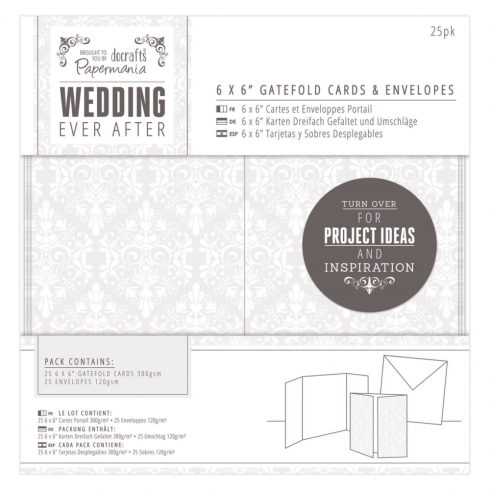 "Papermania 6 x 6"" Gatefold Cards & Envelopes (25pk) - Wedding - Damask"