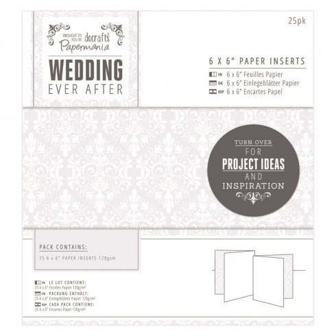 "Papermania 6 x 6"" Paper Inserts (25pk) - Wedding - Damask"