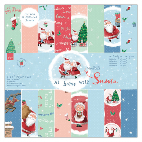 "Papermania 6 X 6"" PAPER PACK (32PK) - AT HOME WITH SANTA"