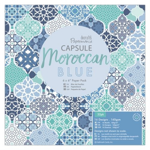 "Docrafts 6 x 6"" Paper Pack (32pk) - Capsule - Moroccan Blue"