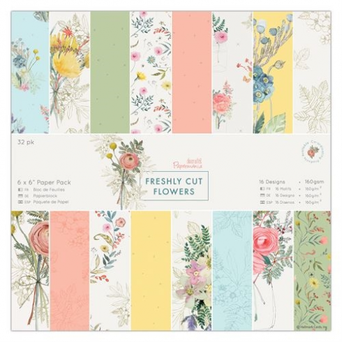 "Docrafts 6 x 6"" Paper Pack (32pk) - Freshly Cut Flowers"