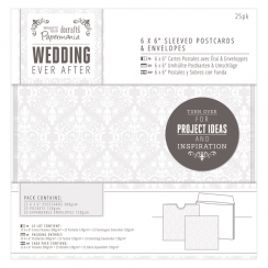 "Papermania 6 x 6"" Sleeved Postcards & Envelopes (25pk) - Wedding - Damask"