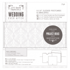 "Papermania 6 x 6"" Sleeved Postcards & Envelopes (25pk) - Wedding - White Heart"