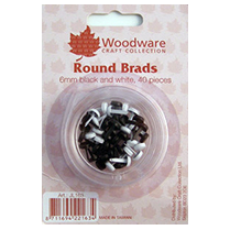 Woodware 6mm Round Brads - Black and White 40pcs