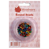 Woodware 6mm Round Brads - Primary 40pcs