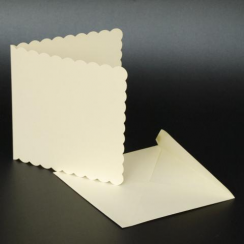 Craft UK 6x6 Scallop Cards & Env - Ivory
