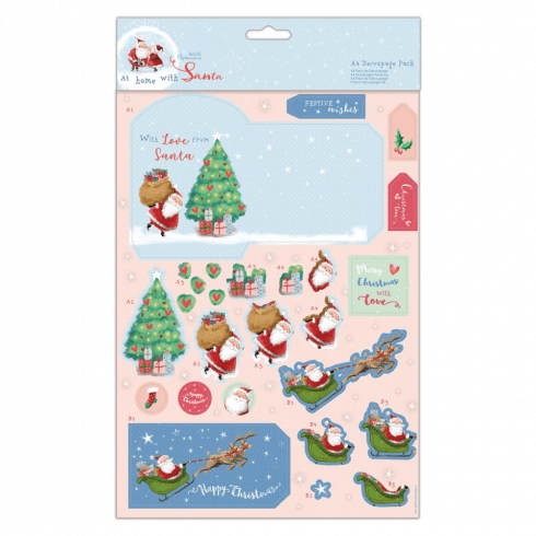 Papermania A4 DECOUPAGE PACK - AT HOME WITH SANTA - FESTIVE WISHES