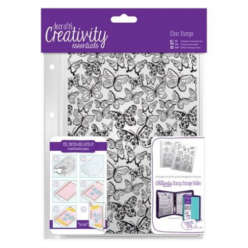 Creativity Essentials A5 Clear Background Stamp (1pc) - Butterflies