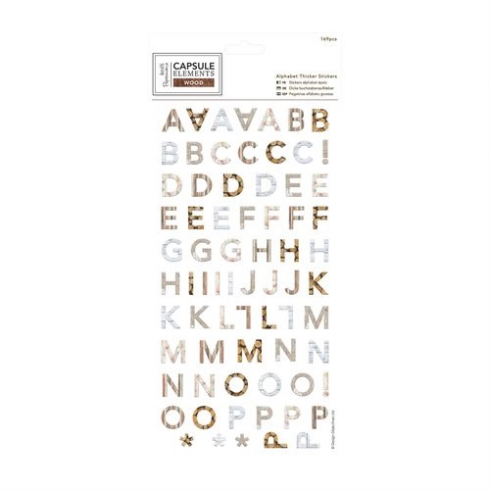 Papermania Alphabet Thicker Stickers (169pcs) - Elements Wood