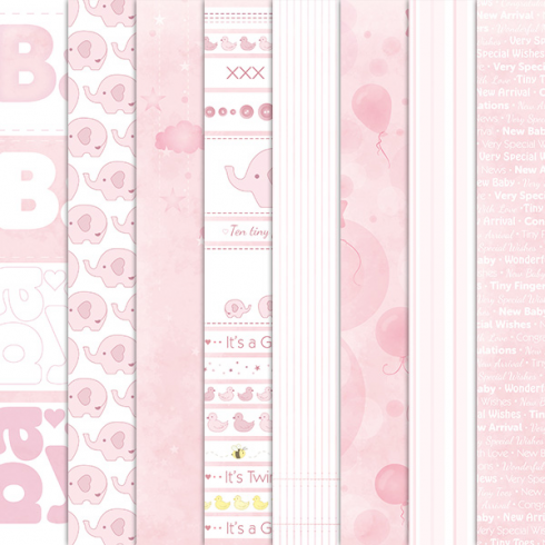 Craft Creations Baby Girl Background Papers