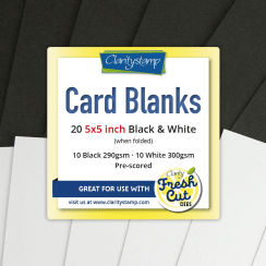 "Clarity CARD BLANKS  5"" X 5"" BLACK & WHITE X10 OF EACH"