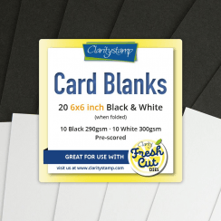 "Clarity CARD BLANKS  6"" X 6"" BLACK & WHITE X10 OF EACH"