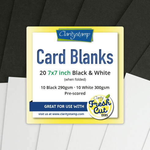 "Clarity CARD BLANKS  7"" X 7"" BLACK & WHITE X10 OF EACH"