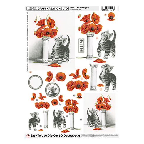 Craft Creations Cat with Poppies