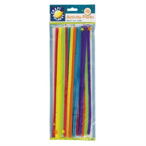 Craft Planet Chenille Stems (20pk) - 6 Neon Colours (300mm)