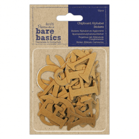 Papermania CHIPBOARD ALPHABET STICKERS (52PCS) - BARE BASICS