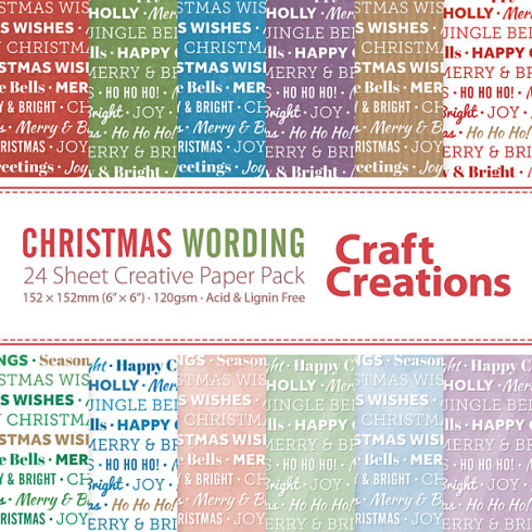 Craft Creations Christmas Wording - 24 sheet Creative Paper Pack