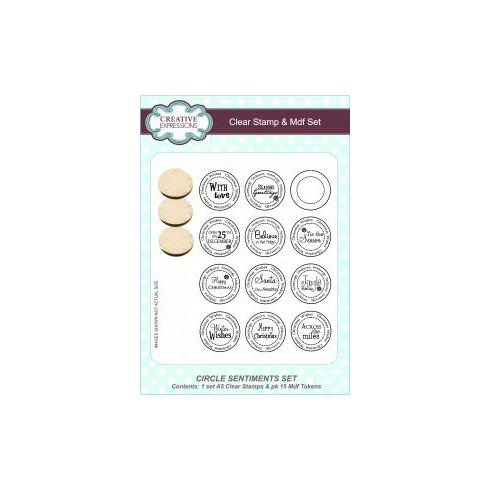 Creative Expressions Circle Sentiments A5 Clear Stamp & Mdf Set