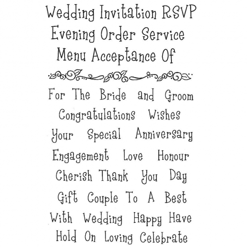Woodware Clear Magic Stamp Set, Wedding Words