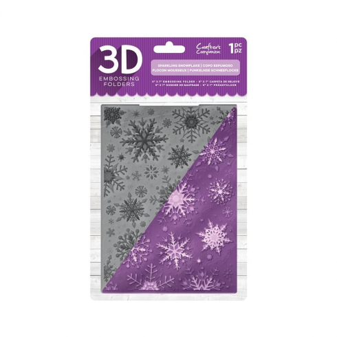"Crafters Companion 5"" x 7"" 3D Embossing Folder - Sparkling Snowflake"