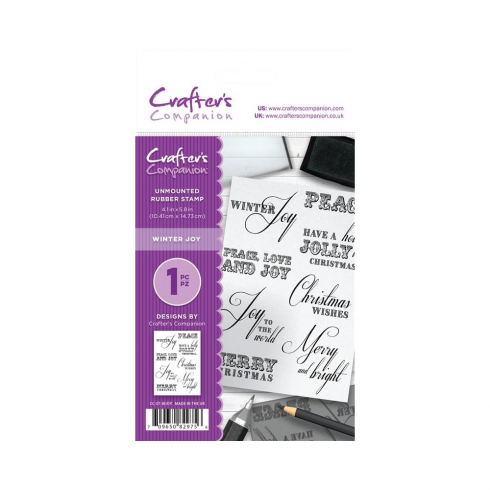 Crafters Companion A6 Unmounted Rubber Stamp - Winter Joy