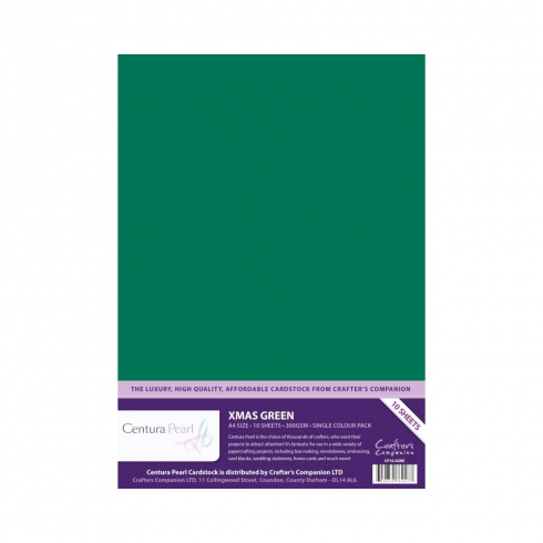 Centura Pearl Crafters Companion Centura Pearl Single Colour 10 Sheet Pack - Xmas Green