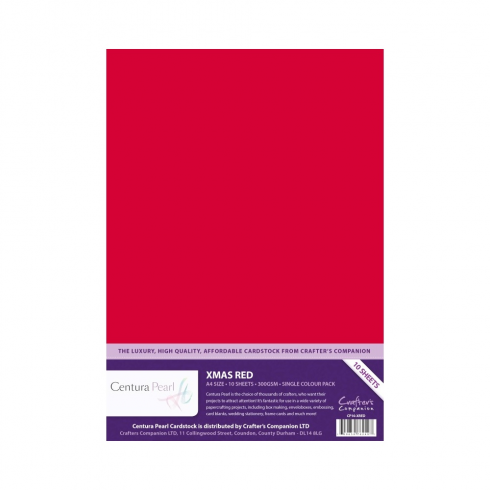 Centura Pearl Crafters Companion Centura Pearl Single Colour 10 Sheet Pack - Xmas Red