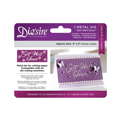 "Crafters Companion Diesire 5"" x 2"" Create a Card - Get Well Soon"